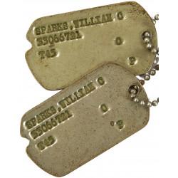 Plaques d'identité, Dog Tags, 1er type, Monel, William Sparks