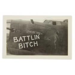 Photo, USAAF, B-24D, Nose Art, Battlin' Bitch