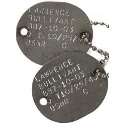 Plaques d'identité, Dog Tags, US Navy, MMS1c Lawrence Bullivant, USS Zeus, PTO