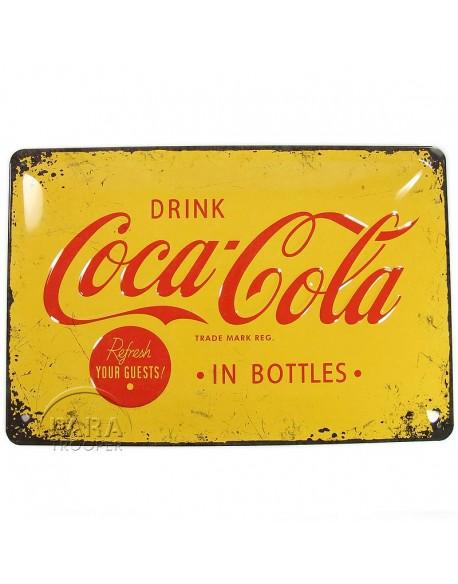 Plaque en métal Coca-Cola, jaune
