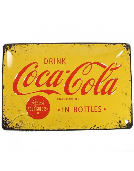 Tin, Sign, Coca-Cola, yellow