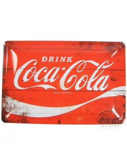 Plaque en métal Coca-Cola, rouge