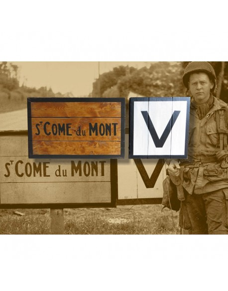 Sign, Road, St-Côme-du-Mont, June 1944