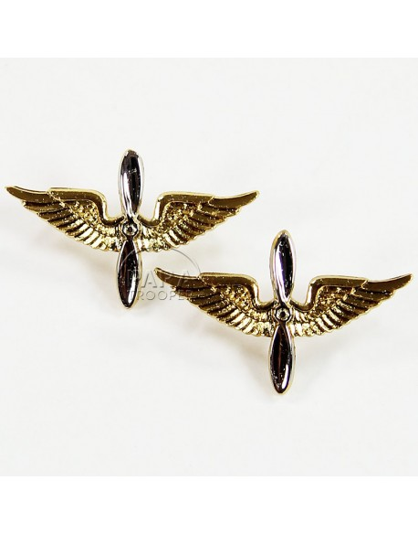 Pair of USAAF Officer collar insignia, S.E.I. Co. ltd
