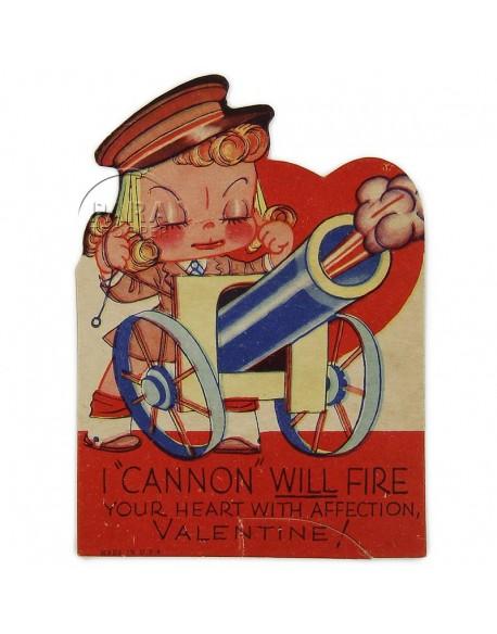 Carte US Army, Saint Valentin, signée