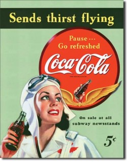 Tin Sign, Coca-Cola, Sends Thirst Flying