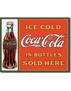 Tin Sign, Coca-Cola, Sold Here in Bottles