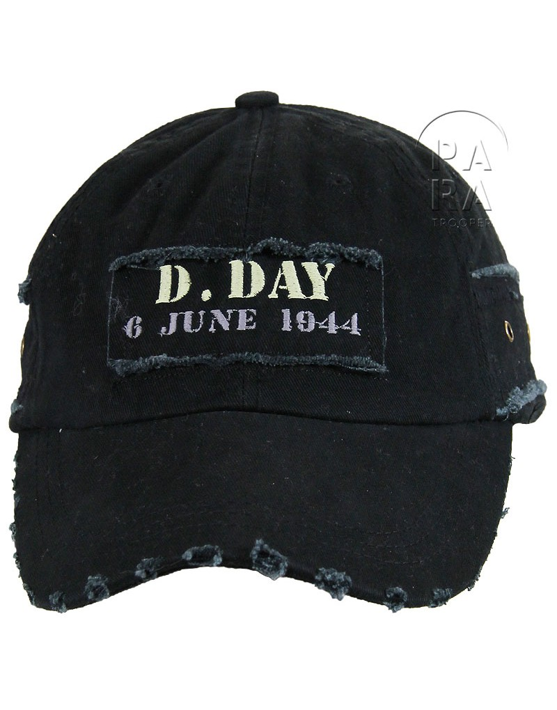 casquette vintage d day 6 june 1944 noire paratrooper. Black Bedroom Furniture Sets. Home Design Ideas