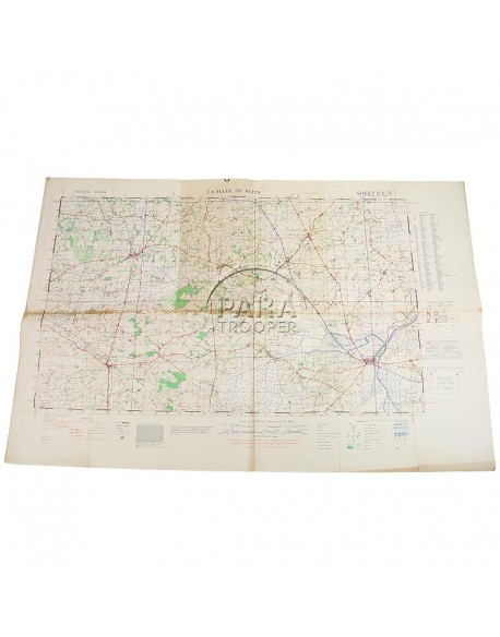 Carte de La-Haye-du-Puits, Normandie, 1943