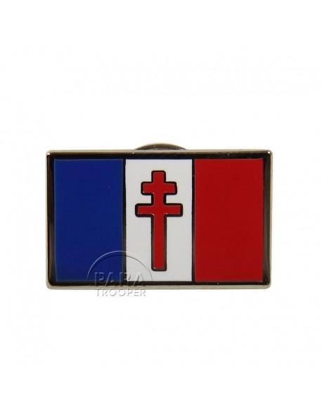 Crest métallique drapeau France Libre