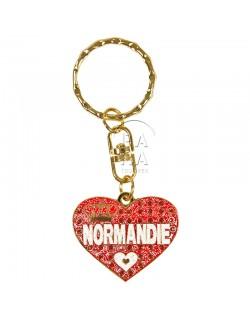 Porte-clés coeur, Love Normandie, rouge