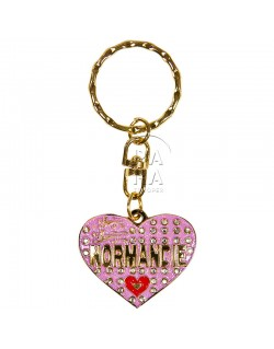 Key-chain, heart, Love Normandie, pink