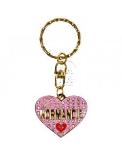 Porte-clés coeur, Love Normandie, rose