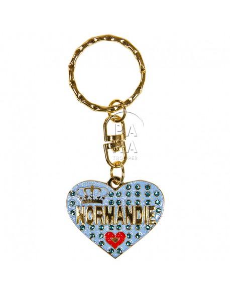 Porte-clés coeur, Love Normandie, bleu