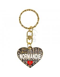 Porte-clés coeur, Love Normandie, noir