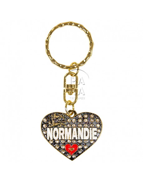 Key-chain, heart, Love Normandie, black