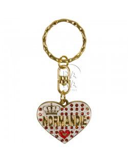 Key-chain, heart, Love Normandie, white
