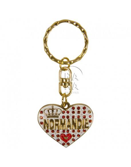 Porte-clés coeur, Love Normandie, blanc