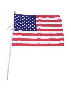 Drapeau USA, grand modèle, sur bâton