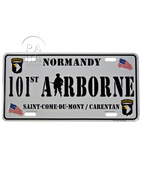 Plaque de véhicule, 101e Airborne, Saint-Côme / Carentan