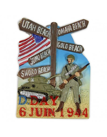 Magnet, D-Day road signe + solider, resin