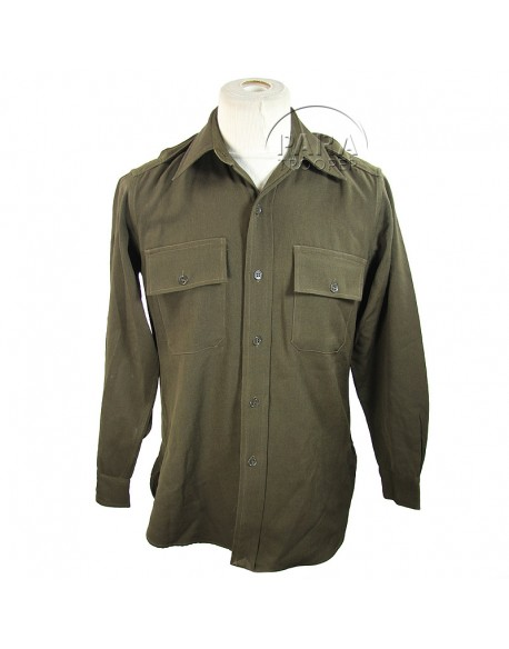 Shirt, Wool elastique, Drab, Officer's, Chocolate, named