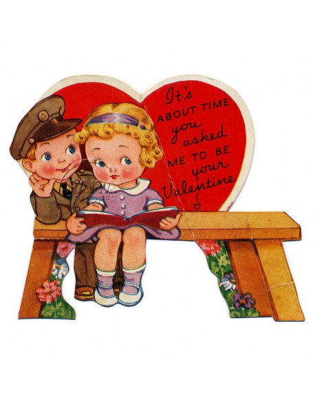 Card, US Army Valentine day, signed