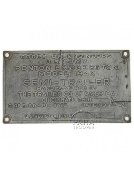 Plaque signalétique de pont flottant, M-1940