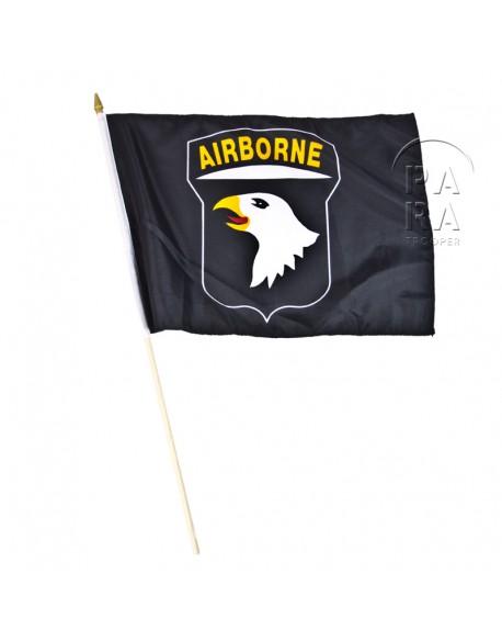 Drapeau 101e Airborne Division, noir, sur bâton