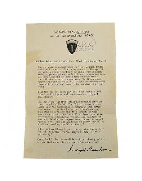 Message, Eisenhower, June 5, 1944