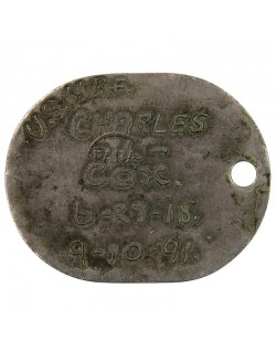 Dog tag, USN, 1st pattern, 1918