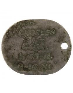 Plaque d'identité USN, 1er type, 1918