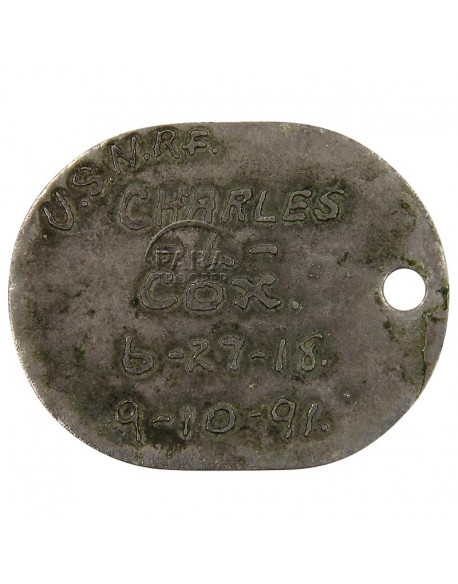 Dog tag, USN, 1st pattern, 1918