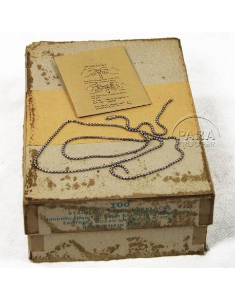 Chaines pour plaques d'identité, avec emballage
