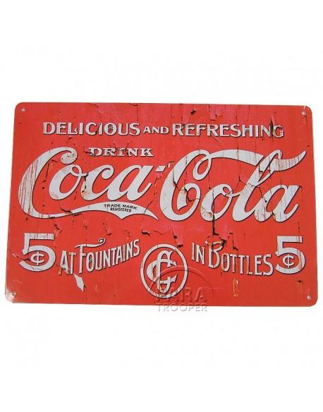 Plaque en métal Coca-Cola, Delicious and Refreshing