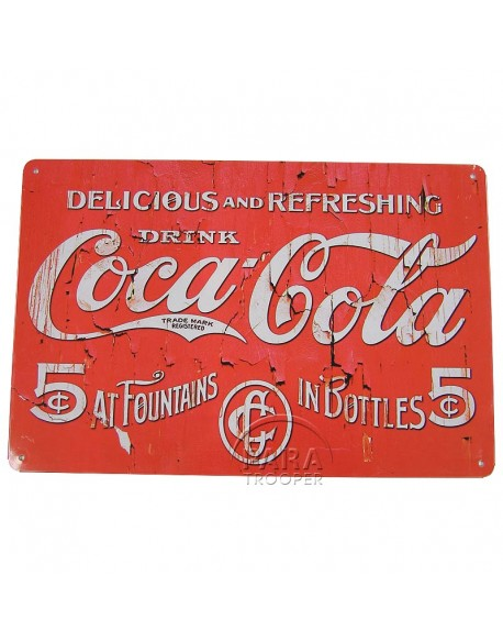 Tin, Sign, Coca-Cola, Delicious and Refreshing