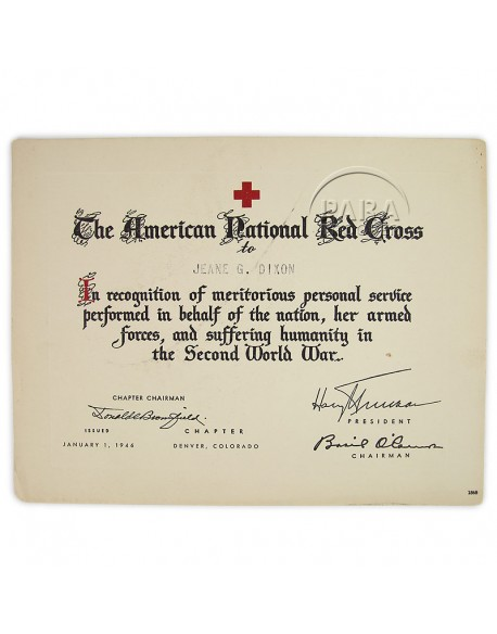 Certificat, Meritorious service, American Red Cross