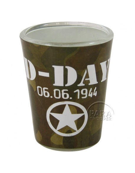 Shot glass, D-Day, camouflaged