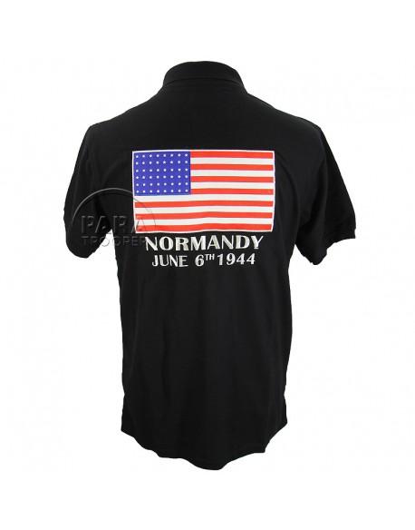 Polo noir, drapeau U.S.