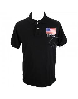 Polo, black, flag