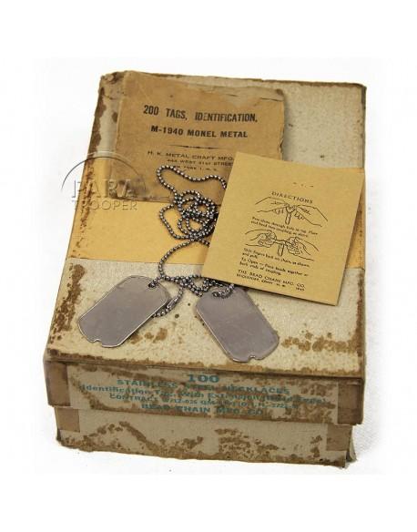 Plaques d'identité M-1940 avec chaines