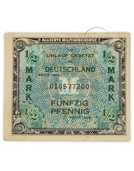 Banknote (Military payment certificate), 1/2 Mark (invasion money), 1944