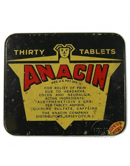 Boite de pilules d'aspirine, Anacin