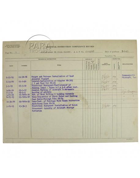 Rapport conformité 9/21/43, planeur CG-4A WACO