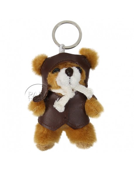 Key-ring, teddy bear, pilote with scarf