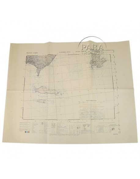 Map Of The South Of France.Map Cannes Northen Est South Of France 1944