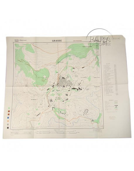 Map, Grasse (South of France), 509th PRCT, 1944