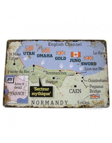 Plaque, carte du débarquement
