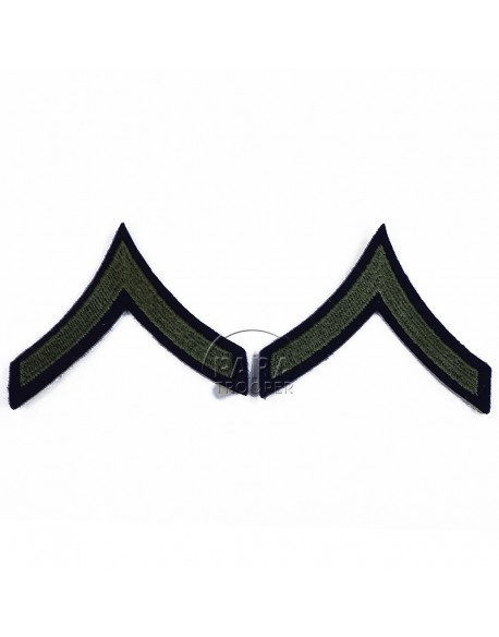 Grades en tissu de Private First Class, vert