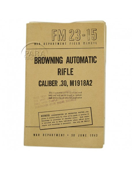 Field Manual 23-15, Browning Automatique Rifle M1918A2